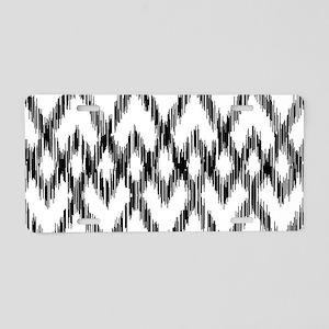 Ikat Pattern Black/White Aluminum License Plate