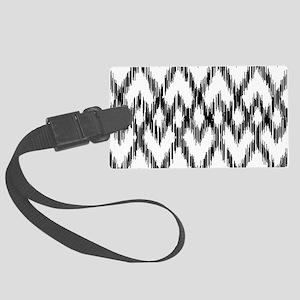 Ikat Pattern Black/White Luggage Tag