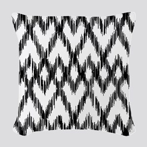 Ikat Pattern Black/White Woven Throw Pillow