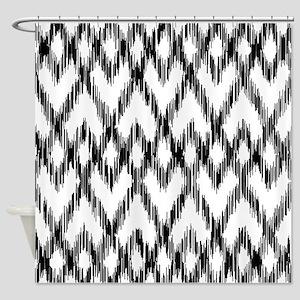Ikat Pattern Black/White Shower Curtain
