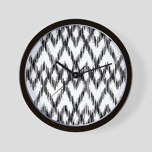 Ikat Pattern Black/White Wall Clock