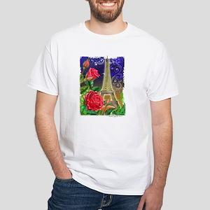 Rose, Paris, Eiffel Tower Rom White T-Shirt