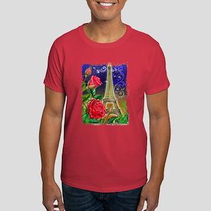 Rose, Paris, Eiffel Tower Rom Dark T-Shirt