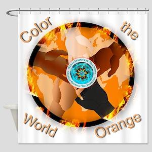 Color the World Orange CRPS Awarene Shower Curtain
