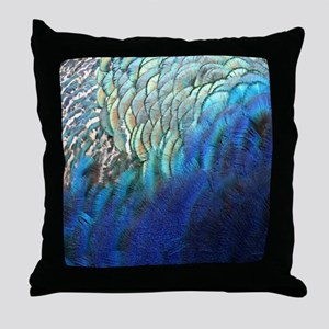 blue and green peacock feathers Throw Pillow
