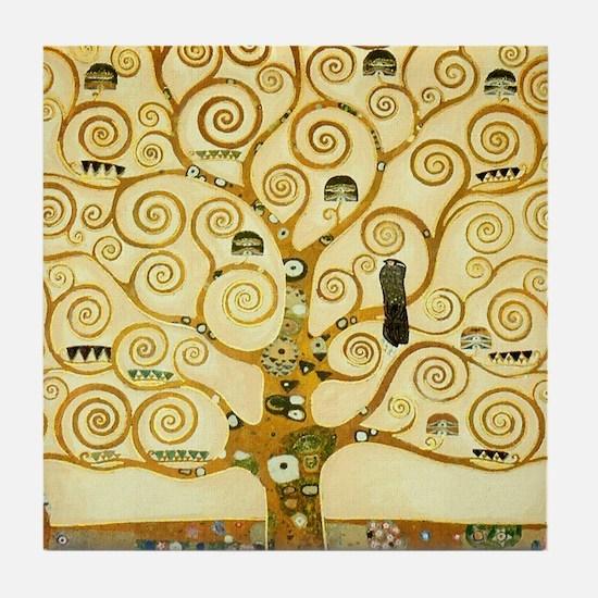 Gustav Klimt Tree Of Life Tile Coaster
