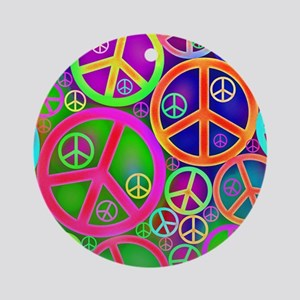 Peace and Love Round Ornament