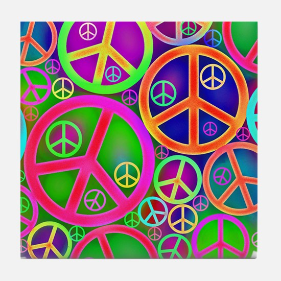 Peace and Love Tile Coaster
