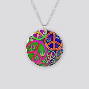 Peace and Love Necklace Circle Charm