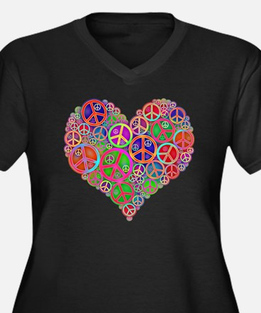 Peace and Lo Women's Plus Size V-Neck Dark T-Shirt