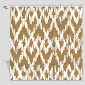 Ikat Pattern Brown Shower Curtain