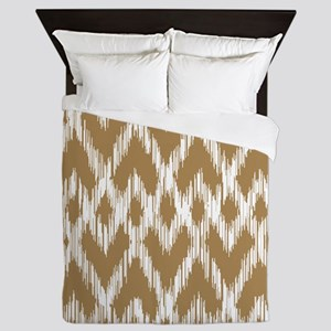 Ikat Pattern Brown Queen Duvet