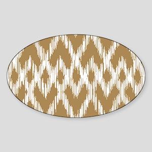Ikat Pattern Brown Sticker (Oval)