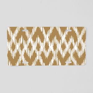 Ikat Pattern Brown Aluminum License Plate