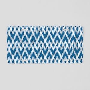 Ikat Pattern Blue Aluminum License Plate