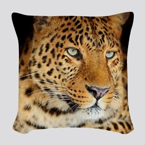 Leopard Portrait Woven Throw Pillow