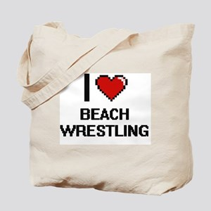 I Love Beach Wrestling Digital Design Tote Bag