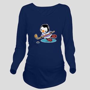 Ice Hockey Penguin Long Sleeve Maternity T-Shirt