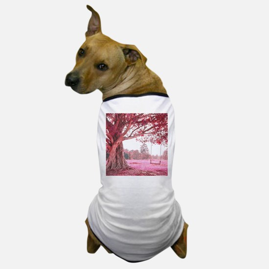 Pink Tree Swing Dog T-Shirt