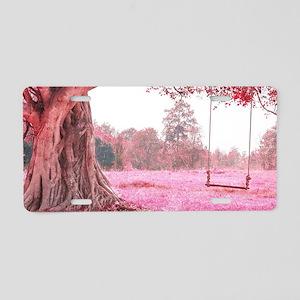 Pink Tree Swing Aluminum License Plate