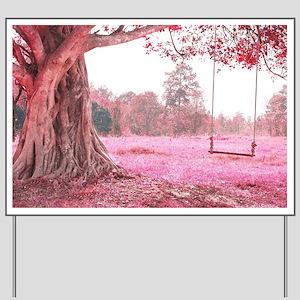 Pink Tree Swing Yard Sign