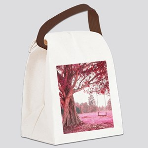 Pink Tree Swing Canvas Lunch Bag