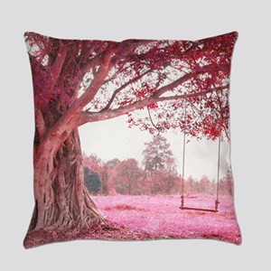 Pink Tree Swing Everyday Pillow