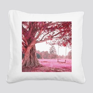 Pink Tree Swing Square Canvas Pillow