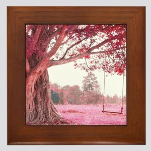Pink Tree Swing Framed Tile