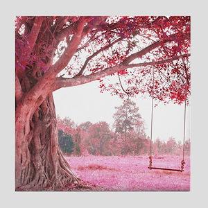 Pink Tree Swing Tile Coaster