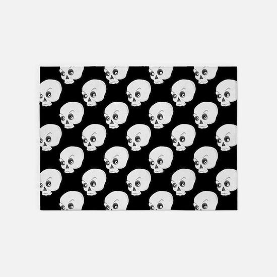 Skull Pattern On Black Background 5'x7'Area Rug