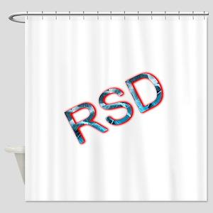 RSD Awareness Flaming Ice Text Shower Curtain