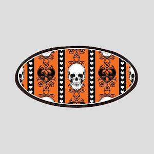 Baroque Skull Stripe Pattern Orange Patch