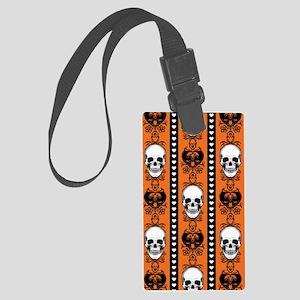 Baroque Skull Stripe Pattern Orange Luggage Tag