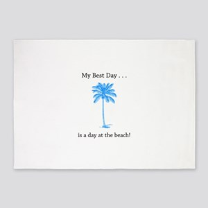 Best Day Beach Palm Gifts 5'x7'Area Rug