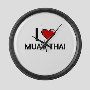 I Love Muay Thai Digital Design Large Wall Clock