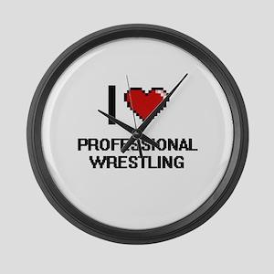 I Love Professional Wrestling Dig Large Wall Clock