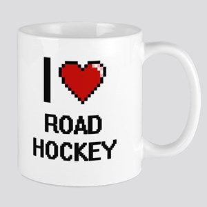 I Love Road Hockey Digital Design Mugs
