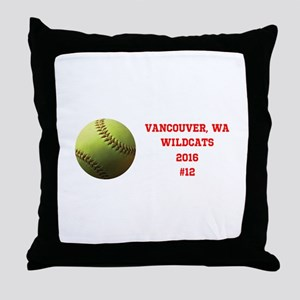 Yellow Softball Team Design Throw Pillow