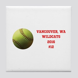 Yellow Softball Team Design Tile Coaster