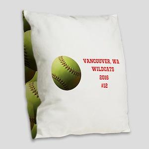 Yellow Softball Team Design B Burlap Throw Pillow