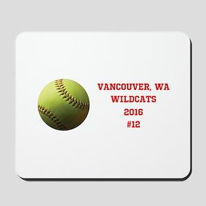Yellow Softball Team Design Mousepad