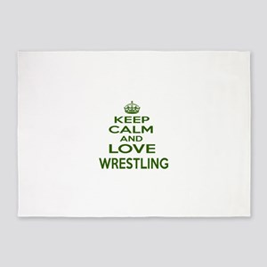 Keep calm and love Wrestling 5'x7'Area Rug