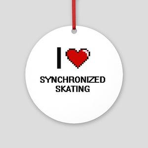 I Love Synchronized Skating Digital Round Ornament
