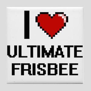 I Love Ultimate Frisbee Digital Desig Tile Coaster