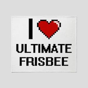 I Love Ultimate Frisbee Digital Desi Throw Blanket