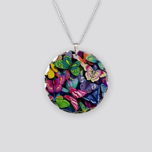 Field of Butterflies Necklace Circle Charm