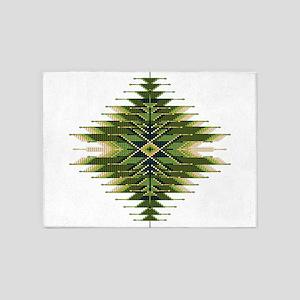 Native Style Green Sunburst 5'x7'Area Rug