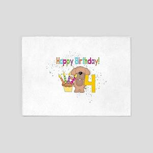 Happy 4th Birthday 5'x7'Area Rug