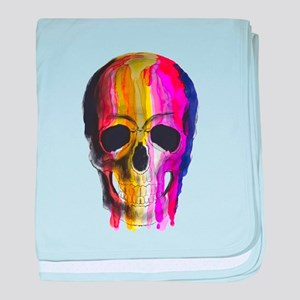 Rainbow Painted Skull baby blanket